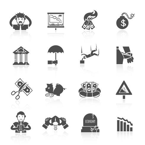 Icone di crisi economica vettore