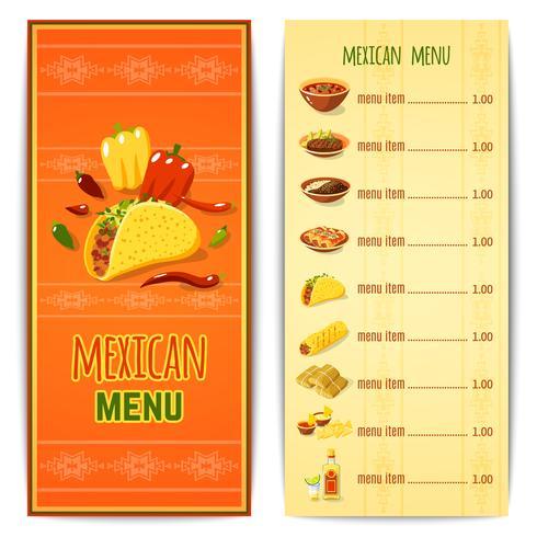 Menu del cibo messicano vettore