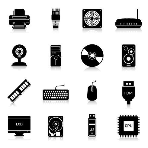 Icone delle parti del computer nere vettore