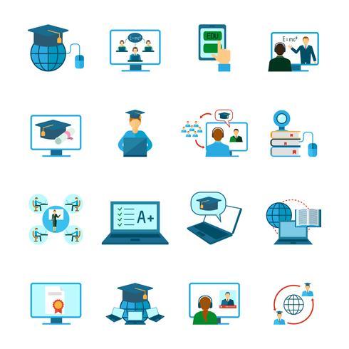 Icona di formazione online piatta vettore