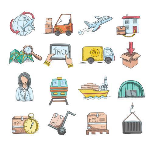 Set di icone di schizzo di logistica vettore