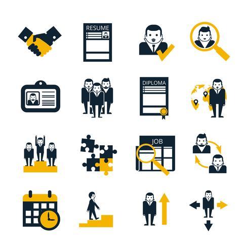 Set di icone nere di risorse umane vettore