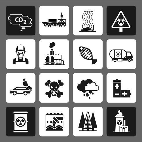 Set di icone di inquinamento nero vettore