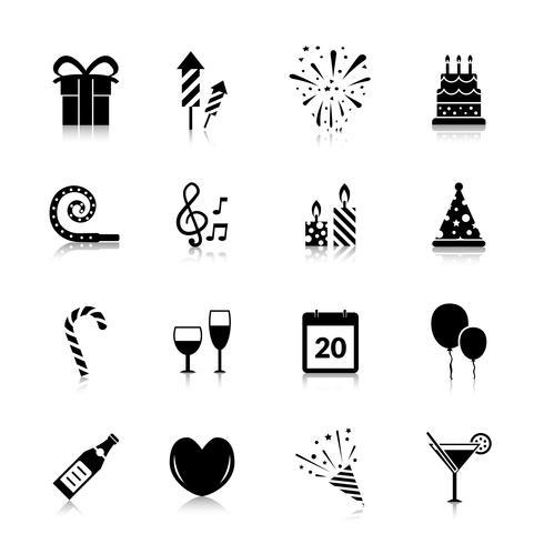 Icone di celebrazione nere vettore