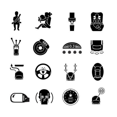 Icone di sicurezza auto nere vettore