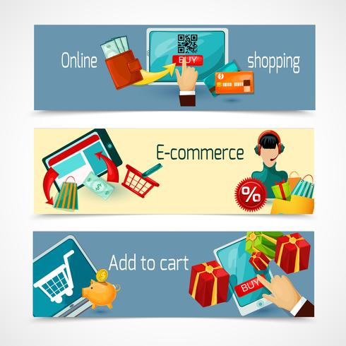 Set di banner di e-commerce vettore