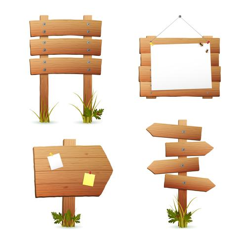 Set di segni in legno vettore