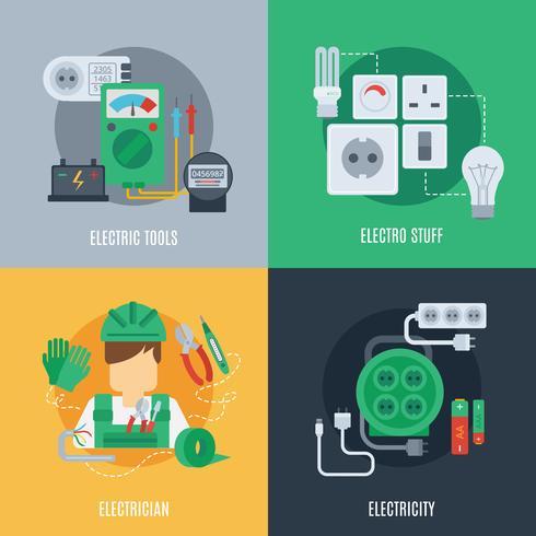 Icone piane di elettricità vettore