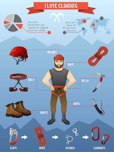 Manifesto di infographics di arrampicata di montagne vettore