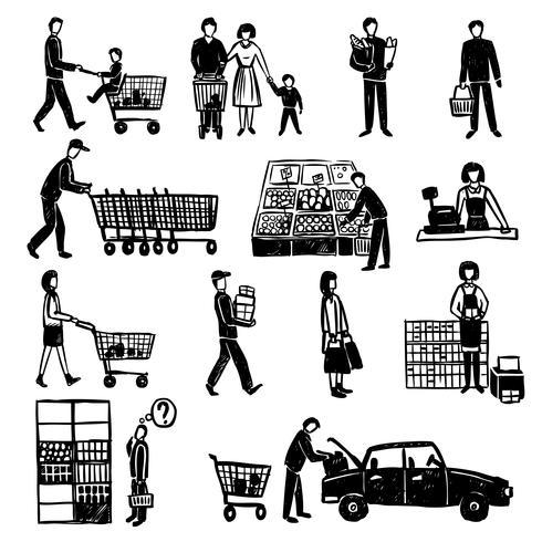 Persone nel supermercato vettore