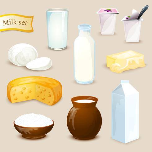Set di prodotti a base di latte vettore