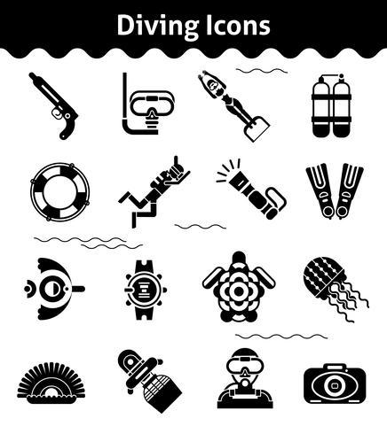 Icone subacquee nere vettore