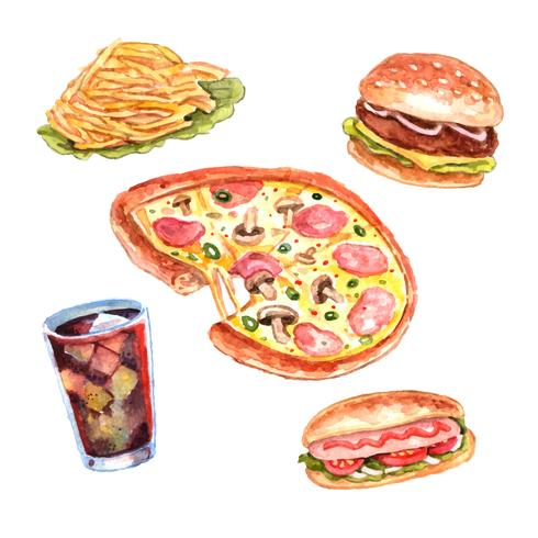 Set di menu pranzo acquerello fast food vettore