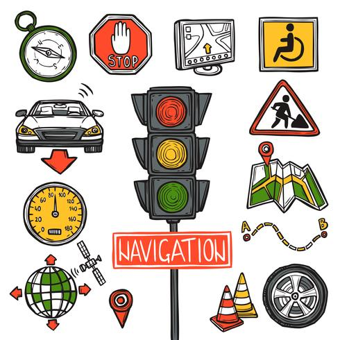 Schizzo di icone di navigazione vettore