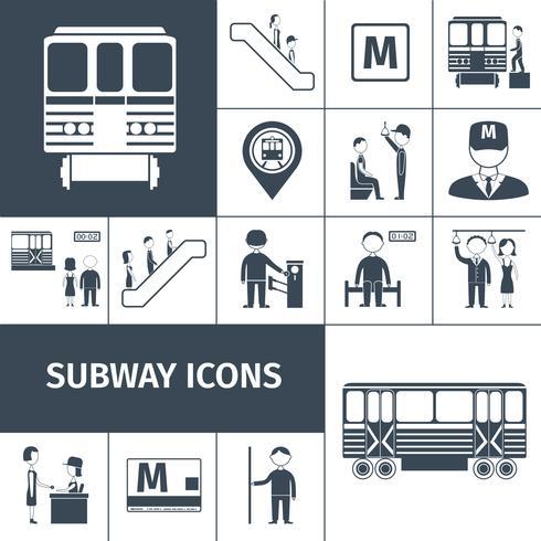 Icone della metropolitana nere vettore