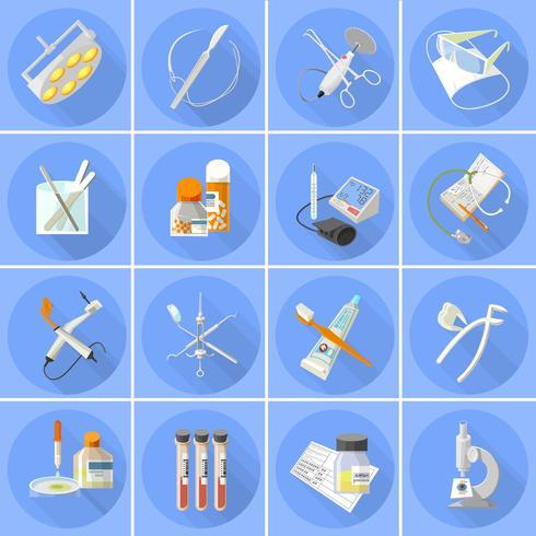 Icone della medicina impostate piatte vettore