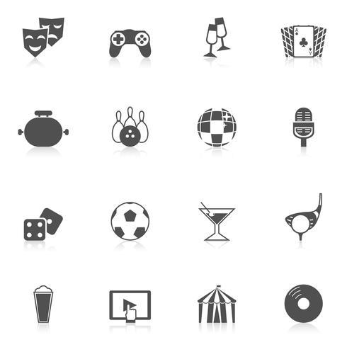 Icone di intrattenimento nere vettore