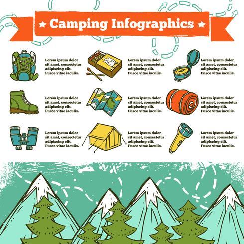 schizzo di infographics di campeggio vettore