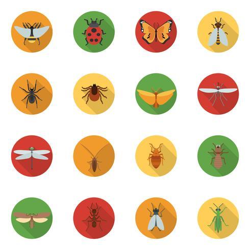 Icone di insetti piatte vettore