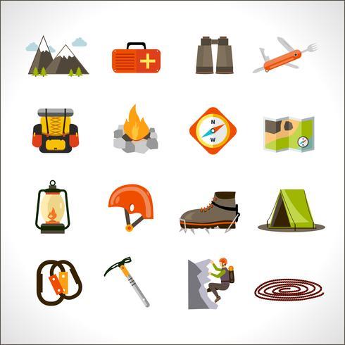 Set di icone di arrampicata vettore