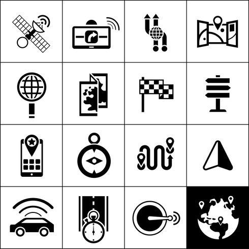 Icone di navigazione nere vettore
