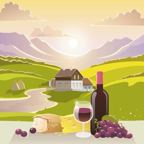 Paesaggio di montagna con vino e formaggio vettore
