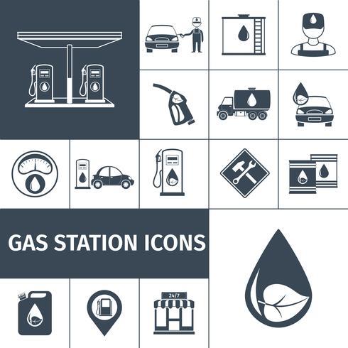 Icone della stazione di benzina nere vettore
