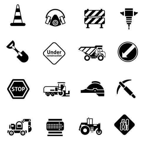 Icone di riparazione stradale nere vettore