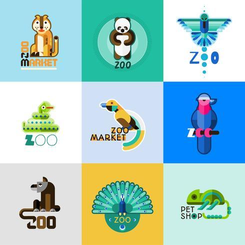 Set logo zoo vettore