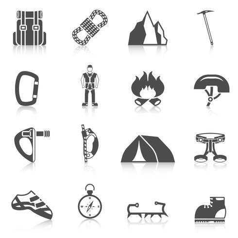 Il nero delle icone dell'attrezzatura dell'attrezzo dello scalatore vettore