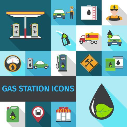 Icone della stazione di servizio piatte vettore