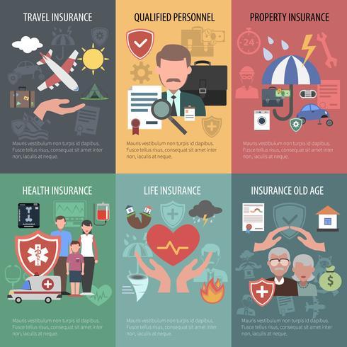 Set di poster assicurativi vettore
