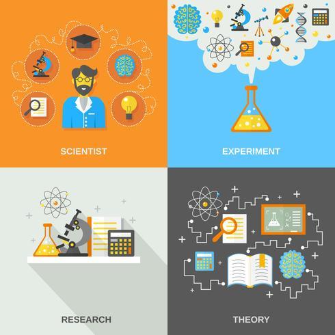 Scienza e ricerca piatta vettore