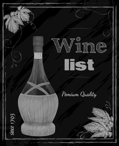 Lavagna della lista dei vini vettore