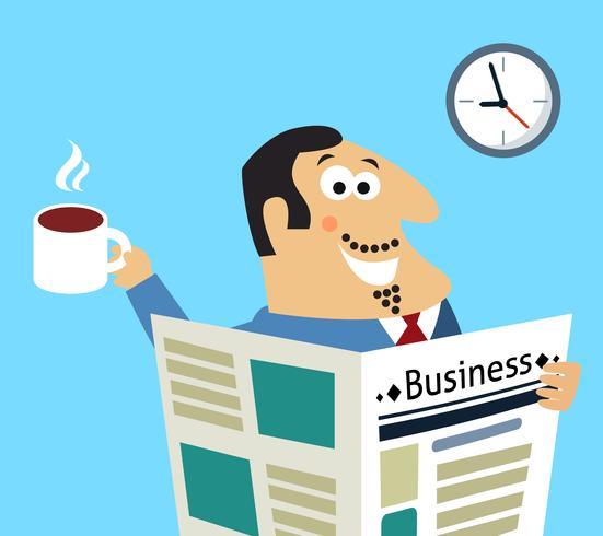 Business mattina giornale e caffè vettore