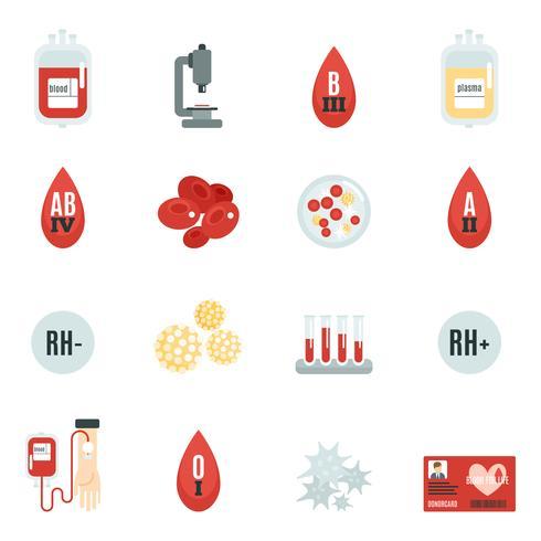 Icone del donatore di sangue piatte vettore