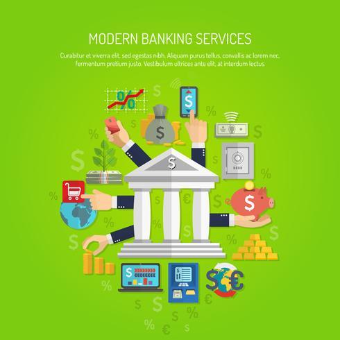 Concetto di attività bancarie piane vettore