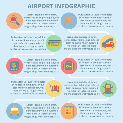 Set infografica aeroporto vettore
