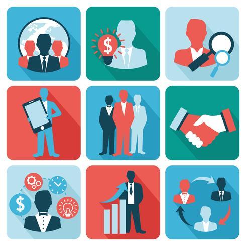 Icone di affari e gestione piatte vettore
