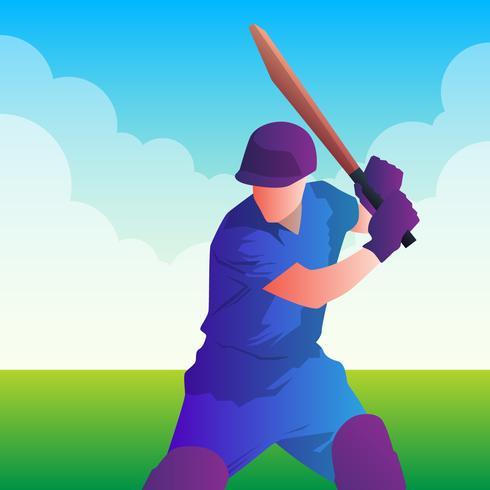 battitore che gioca l'illustrazione di campionato del cricket vettore