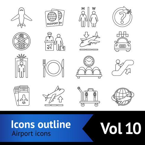 Set di icone di icone dell'aeroporto vettore