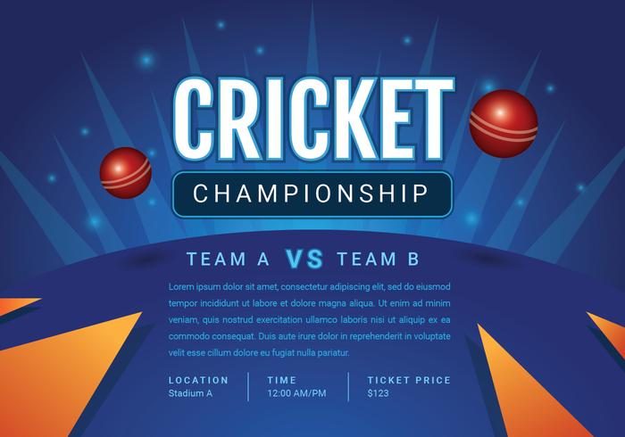 design del manifesto del campionato di cricket vettore