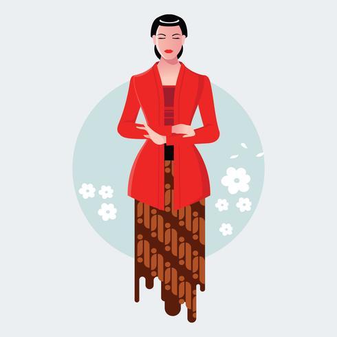 Donna giavanese indonesiana che indossa Kebaya Kartini vettore