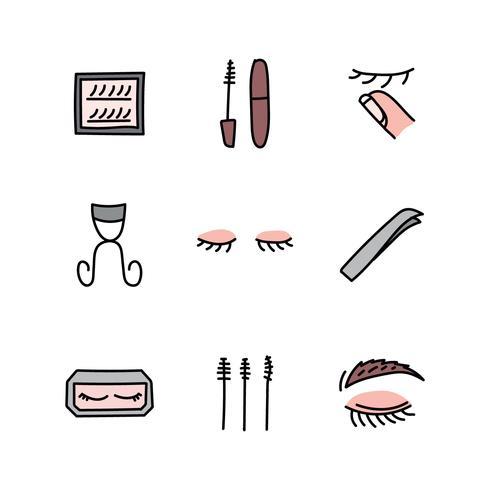 Set di icone di make-up e ciglia vettore