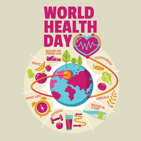 Concetto di giornata mondiale salute con stile di vita sano vettore