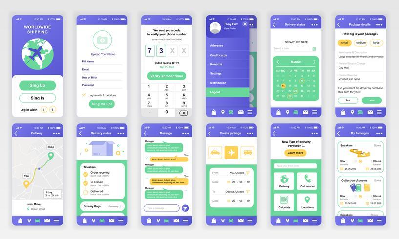 Set di UI, UX, schermate GUI Modello di app flat design di consegna per applicazioni mobili, wireframe di siti Web reattivi. Kit UI di progettazione Web. Delivery Dashboard. vettore
