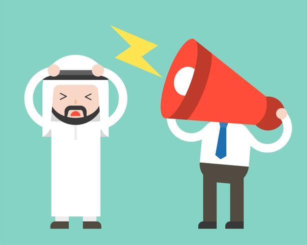 Megafono testa e fastidioso uomo d'affari arabo, fastidioso concetto di collaboratore vettore