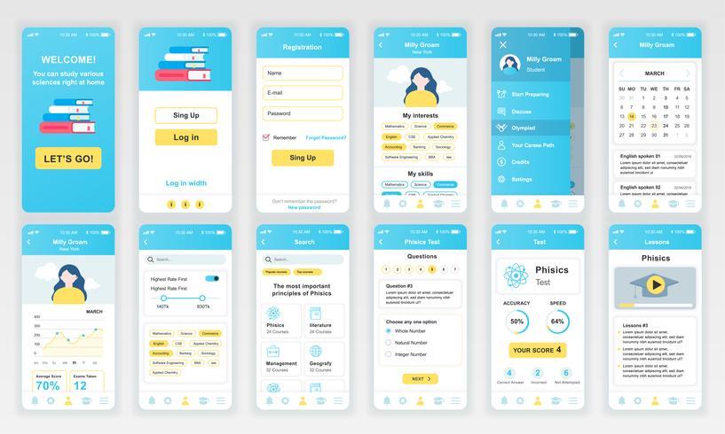Set di UI, UX, schermate GUI Modello di design piatto per app di formazione per app mobili, wireframe di siti Web reattivi. Kit UI di progettazione Web. Dashboard di educazione. vettore