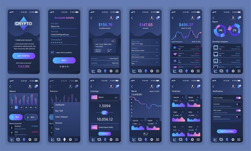 Set di UI, UX, schermate GUI Modello di design piatto app Cryptocurrency per applicazioni mobili, wireframe sito reattivo. Kit UI di progettazione Web. Cryptocurrency Dashboard. vettore