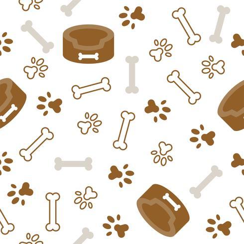 tema senza cuciture del cane, osso, stampa del piede della zampa per uso come carta da parati o fondo vettore